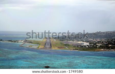 Tahiti airport runway at landing - stock photo