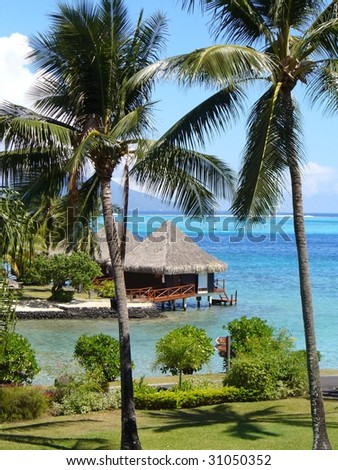 Tahiti Huts resort - stock photo