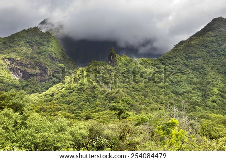 Tahiti. Polynesia. Clouds over a mountain landscape.  - stock photo