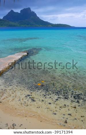 Tahitian Blue Lagoon - stock photo