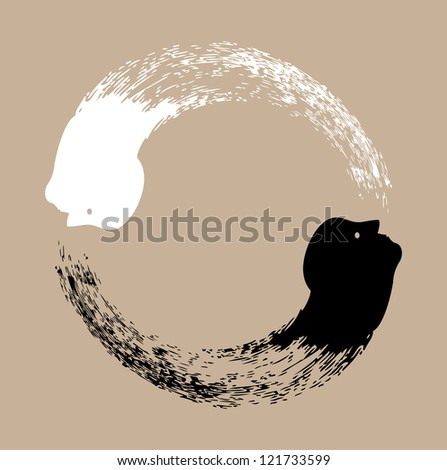 Taichi yin and yang - stock photo