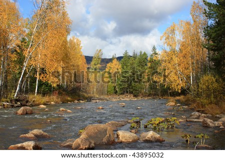 Taiga river. Autumn. - stock photo