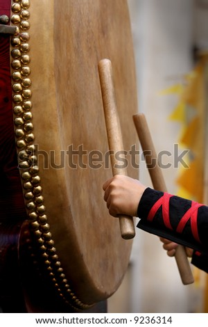 Taiko Drummer closeup - stock photo