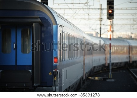 Tail light of the express train. - stock photo