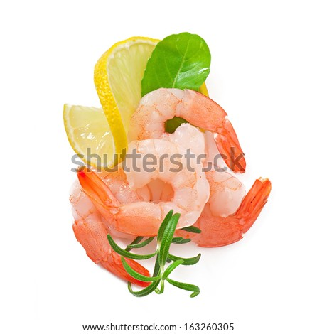 tail of shrimp with fresh lemon and rosemary on the white - stock photo