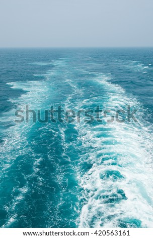 Tail of the sea from the speed boat. - stock photo