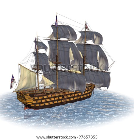 Tail Sailing Ship. 100 Gun first rate ship of line British Royal Navy built in 1737. In ocean under full sail. Isolated on clean white background. Copy space room for text Clip art cutout illustration - stock photo