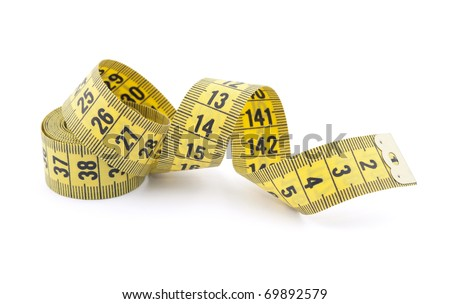 Tailor measuring tape with soft shadow - stock photo