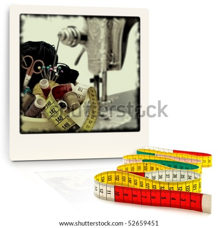 tailor meter in front of old style photo with knitting items
