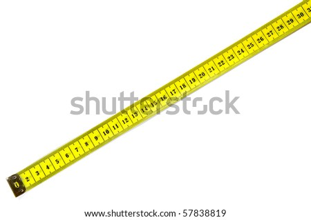 tailor tape measure ruler for design, isolated on white - stock photo