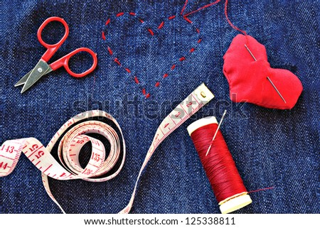 tailoring in love - stock photo