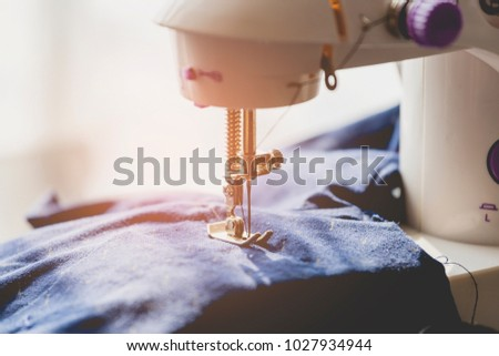 tailoring process on sewing machine hobby sewing stock photo image