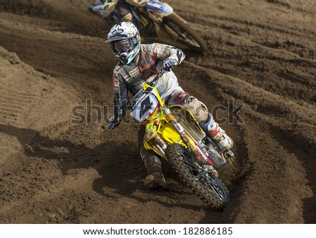 TAIN, ROSS AND CROMARTY, SCOTLAND - 9 MARCH: This is a Motocross party at Round 1 of the SMFX at the Tain Motocross Track, Scotland, United Kingdom. This event is open to public viewing.