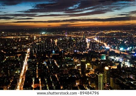 taipei city at night , view from Taipei 101 skyscraper , Taiwan. - stock photo