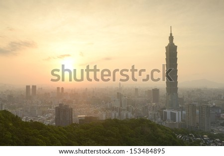 Taipei city in sunset time - stock photo