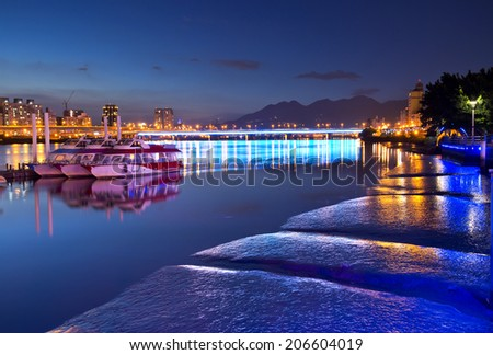 Taipei City Riverside Night - stock photo