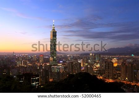Taipei City sunset scene with Taipei101,taiwan - stock photo