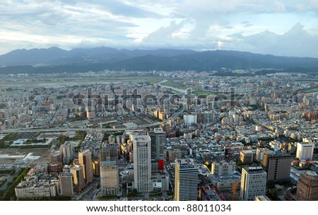 Taipei city view from high - stock photo