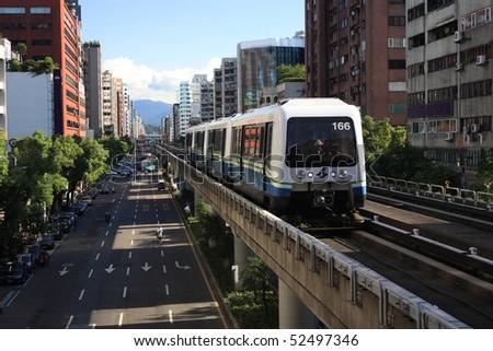 "Taipei Rapid Transit System,(MRT ""Mass Rapid Transit""),Neihu (brown) line,Taiwan - stock photo"