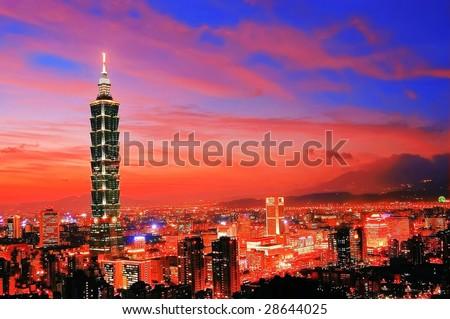Taipei 101 sunset - stock photo