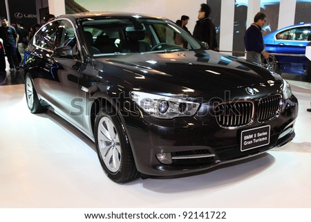 TAIPEI, TAIWAN - A 2012 All New BMW 5 serious luxury car on display at the 19th TAIPEI INT'L AUTO SHOW on January 1, 2012 in Taipei, Taiwan - stock photo