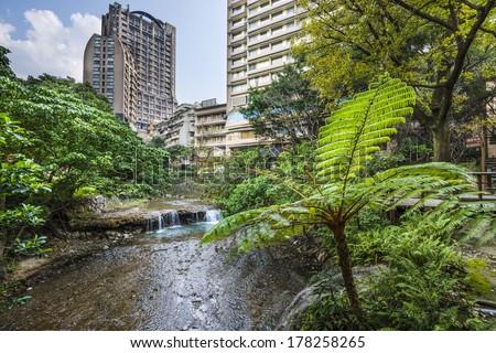 Taipei, Taiwan at Beitou hot springs district. - stock photo
