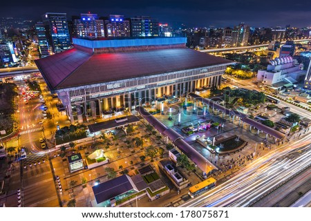 Taipei, Taiwan at Taipei Main Station in the  Zhongzheng district. - stock photo