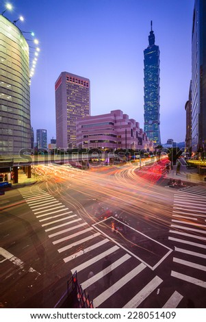 Taipei, Taiwan Citsyscape and Intersection at twilight. - stock photo