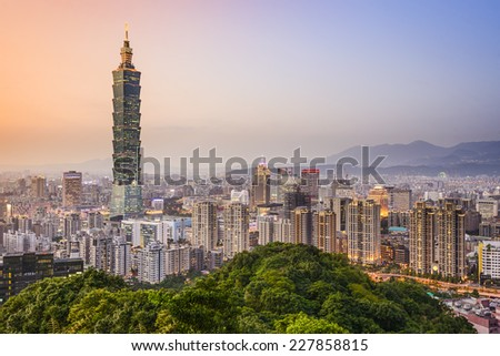 Taipei, Taiwan city skyline at dusk. - stock photo