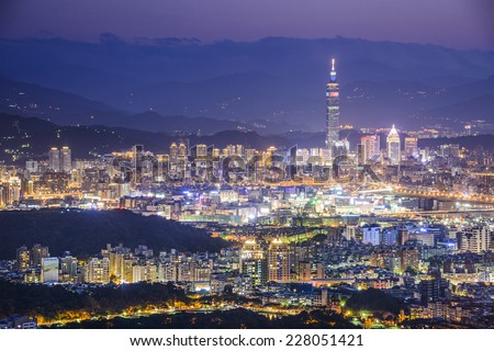 Taipei, Taiwan Cityscape from Neihu District. - stock photo