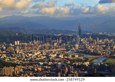 Taipei, Taiwan Cityscape from Neihu District for adv or others purpose use - stock photo
