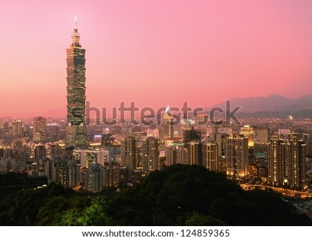 Taipei, Taiwan evening skyline. - stock photo