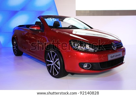 TAIPEI, TAIWAN - JANUARY 1: a 2012 new VW Golf Cabriolet car at the 19th TAIPEI INT'L AUTO SHOW on January 1, 2012 in Taipei, Taiwan - stock photo
