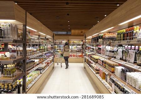 Taipei, Taiwan, January, 22th, 2015,  supermarket interior - stock photo