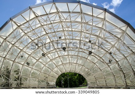 Taipei, Taiwan - 29 July 2012: Giant canopy above stage in Shilin Official Residence, one of the most popular tourist spots. The canopy is made of steel and polycarbonate with amplifiers set on top.