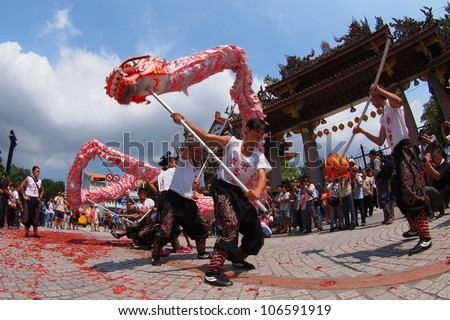TAIPEI, TAIWAN-JULY 1: The parade of  Xiahai City God in Taipei, Taiwan on July 1, 2012. - stock photo