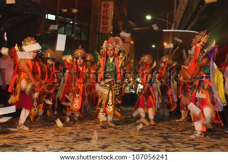 TAIPEI, TAIWAN-JUNE 29: The parade of Xiahai City God in Taipei, Taiwan on June 29, 2012. - stock photo