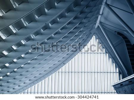 TAIPEI, TAIWAN - March, 2015 :Taoyuan International Airport Modern Architecture construction details - stock photo