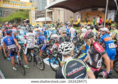 TAIPEI, TAIWAN, MARCH 22 2015, Tour de Taiwan, the International Cycling Road Race. first stage is Taipei city.