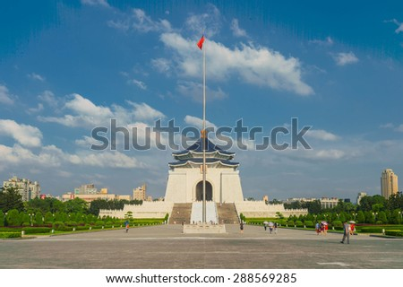 TAIPEI, TAIWAN - May 29: Chiang Kai-shek Memorial Hall May 29, 2015 in Taipei, TAIWAN, Asia. The building is famous landmark and must see attraction in Taipei.