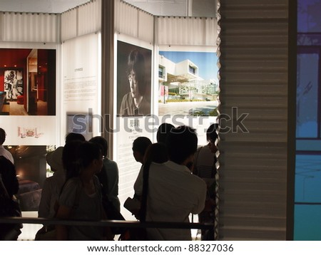 TAIPEI, TAIWAN - OCT 30 :People visit the International Interior Design in 2011 Taipei World Design Expo on Oct. 30,2011 in Taipei,Taiwan. The Exposition held  between Sep. 30 to Oct. 30,2011. - stock photo