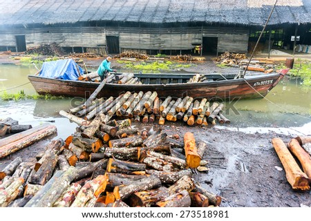 TAIPING, MALAYSIA - APRIL 20: Unidentified worker carrying raw mangrove wood has been processed as charcoal from a cone April 20, 2015 in Taiping, Malaysia. This product for local market and export. - stock photo