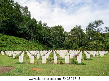 TAIPING, PERAK, MALAYSIA - Dec 11, 2016 - The War Cemetery is the final resting place for Allied army who were killed during World War II, particularly the Malayan Campaign and the Japanese occupation