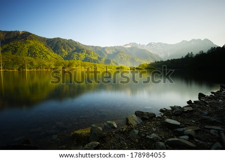 TAISHOIKE Pond and the Peaks of the Hotakas, Nagano Prefecture/Japan, 2013/6/4.  - stock photo