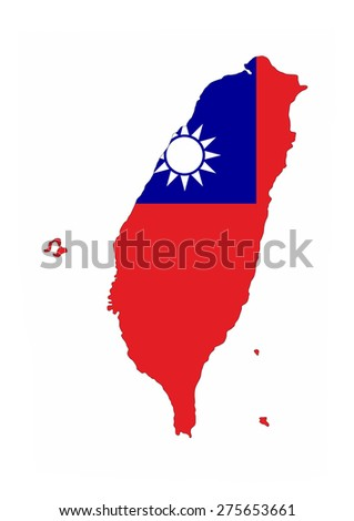taiwan country flag map shape national symbol - stock photo