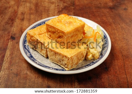 Taiwan famous snack - Stinky tofu       - stock photo
