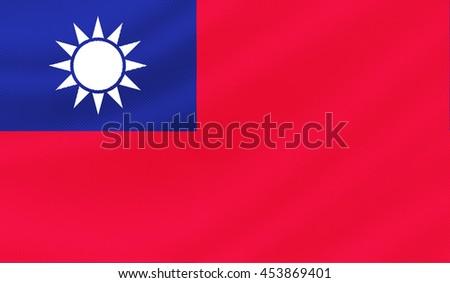 Taiwan flag - 3D illustration - stock photo