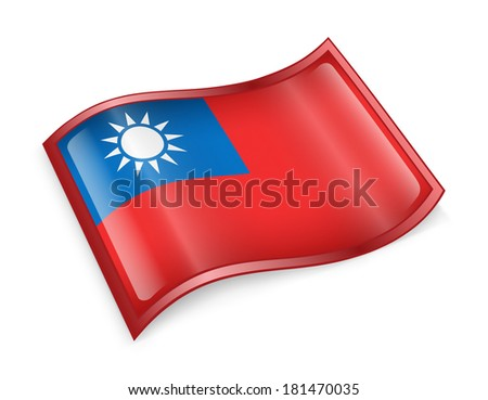 Taiwan Flag icon, isolated on white background. - stock photo