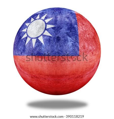 Taiwan flag pattern on stone circle shape texture - stock photo