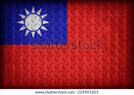 Taiwan flag pattern on the diamond metal plate texture ,vintage style - stock photo